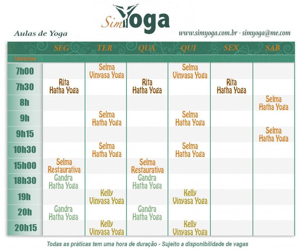 Tabela Sim Yoga 2017 5a